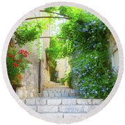 Old Town Of Provence Street Round Beach Towel