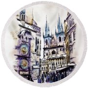Old Town Square In Prague Round Beach Towel