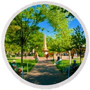Old Town Square Santa Fe Round Beach Towel
