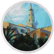 Old Town Tower In Menton Round Beach Towel
