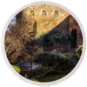 Old Town Walls Toledo Spain Round Beach Towel by Joan Carroll