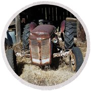 Old Tractor 4 Round Beach Towel