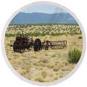Old Tractor And Rake In New Mexico Round Beach Towel