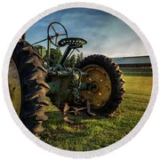 Old Tractor In The Field Outside Of Keene Nh Round Beach Towel by Edward Fielding