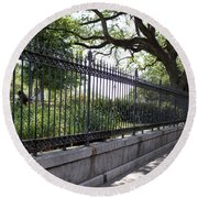 Old Tree And Ornate Fence Round Beach Towel
