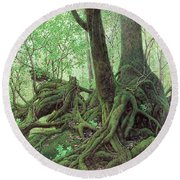 Old Tree Root Round Beach Towel