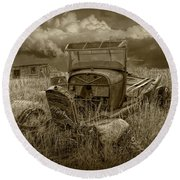 Old Truck Abandoned In The Grass In Sepia Tone Round Beach Towel