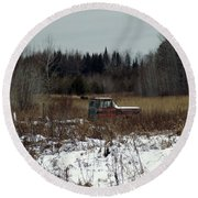 Old Truck And A Moose Round Beach Towel