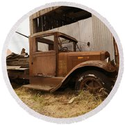 Old Truck In Old Forgotten Places Round Beach Towel