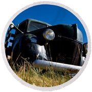 Old Truck Low Perspective Round Beach Towel