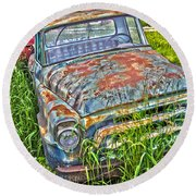 001 - Old Trucks Round Beach Towel