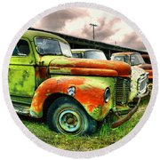 Old Trucks In A Row Round Beach Towel