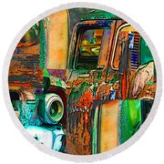 Old Trucks Round Beach Towel