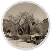 Old Tucson Landscape  Round Beach Towel