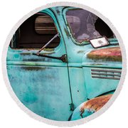 Old Turquoise Truck Round Beach Towel