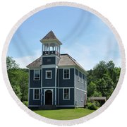 Old Two Room School House Round Beach Towel