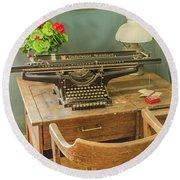 Old Underwood Typewriter Round Beach Towel