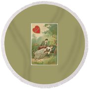 Old Victorian Era Valentine Card Round Beach Towel