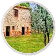 Old Villa And Olive Trees Round Beach Towel