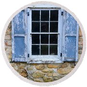 Old Village Window With Blue Shutters Round Beach Towel