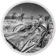Old Wagon, Jackson Hole Round Beach Towel