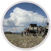 Old Wagon Out West Round Beach Towel by Jerry McElroy