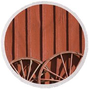 Old Wagon Wheels IIi Round Beach Towel