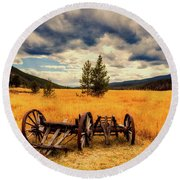 Old Wagons In Meadow Round Beach Towel
