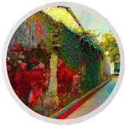 Old Wall Of The Ancient City Round Beach Towel