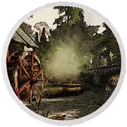 Old Watermill In The Forest Round Beach Towel