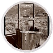 Old Well Bodie Ghost Twon California Round Beach Towel
