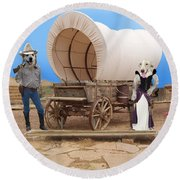 Old West Dogs Round Beach Towel