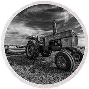 Old White Tractor In The Field Round Beach Towel