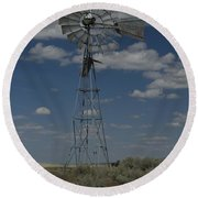 Old Windmill 2 Round Beach Towel