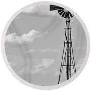 Old Windmill II Round Beach Towel