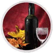 Old Wine Bottle Round Beach Towel