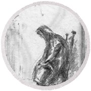Old Woman In Chair Round Beach Towel