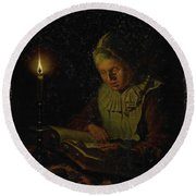Old Woman Reading, Adriaan Meulemans, 1800 - 1833 Round Beach Towel