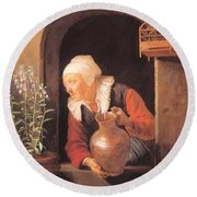 Old Woman Watering Flowers 1665 Round Beach Towel