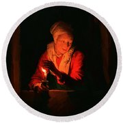 Old Woman With A Candle Round Beach Towel