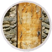 Old Wood Door And Stone - Vertical  Round Beach Towel