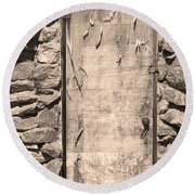 Old Wood Door  And Stone - Vertical Sepia Bw Round Beach Towel