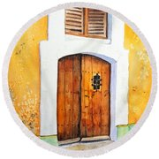 Old Wood Door Arch And Shutters Round Beach Towel