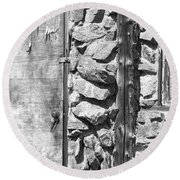 Old Wood Door Window And Stone In Black And White Round Beach Towel