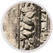 Old Wood Door Window And Stone In Sepia Black And White Round Beach Towel