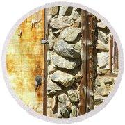 Old Wood Door Window And Stone Round Beach Towel
