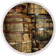 Old Wood Whiskey Barrels Round Beach Towel