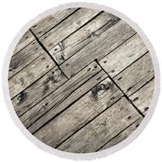 Old Wooden Boards Nailed Round Beach Towel