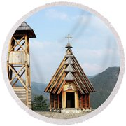 Old Wooden Church And Bell Tower Round Beach Towel