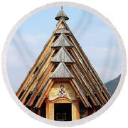 Old Wooden Church On Mountain Round Beach Towel